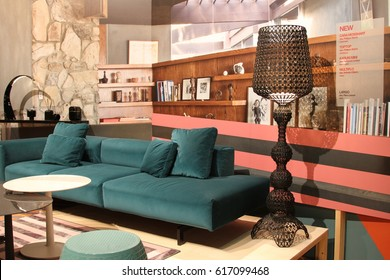 MILAN, ITALY - APR 6, 2017: new furniture by Kartell at Salone Del Mobile, international furniture and accessories exhibition.