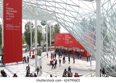 MILAN, ITALY - APR 8, 2017: People at the entrance of Salone del Mobile 2017, the greatest international furniture and accessories exhibition.