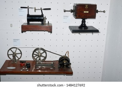 Milan, Italy - April 04, 2019 : View of electromagnetic instruments