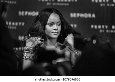 MILAN, ITALY - APRIL 05: Rihanna attends Sephora Fenty Beauty by Rihanna launch event on April 5, 2018 in Milan, Italy.