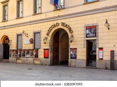 MILAN, ITALY - APRIL 07, 2018: Piccolo Teatro di Milano -  Milan Drama Theatre, it was founded in 1947