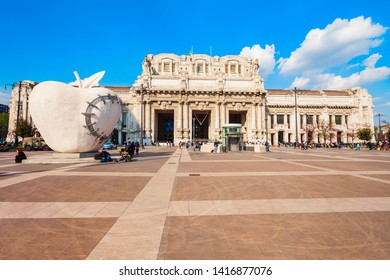 MILAN, ITALY - APRIL 09, 2019: Stazione Milano Centrale is the main railway station of the Milan city in Lombardy region of northern Italy