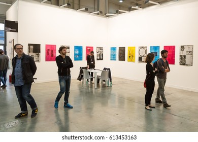 MILAN, ITALY - APRIL 1: People visit Miart, international exhibition of modern and contemporary art on APRIL 1, 2017 in Milan.
