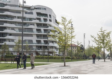 Milan, Italy - April 10, 2019 -  CityLife luxury residential complex in Milan, designed by architect Zaha Hadid