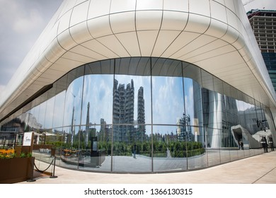 Milan, Italy - April 10, 2019 - CityLife Milan - Three modern skyscrapers, a shopping center, luxury residences and large green areas and underground parking lots.