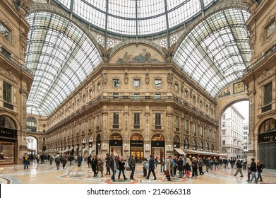 MILAN, ITALY - APRIL 11 : Galleria Vittorio Emanuele II on April 11, 2013 in Milan. It's one of the world's oldest shopping malls, designed and built by Giuseppe Mengoni between 1865 and 1877