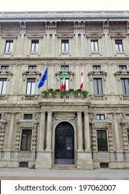 MILAN, ITALY - APRIL 12, 2014: Palazzo Marino, home of the city hall council in Milan.
