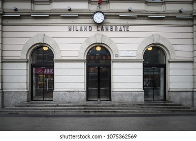 MILAN, ITALY - APRIL 12, 2018: The main entrance to Milano Lambrate station in Italy