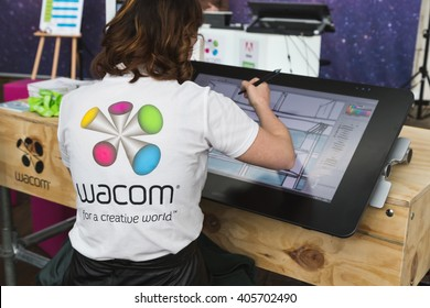 MILAN, ITALY - APRIL 12: Wacom digital artist works for Fuorisalone at Ventura Lambrate space, location of important events during Milan Design Week on APRIL 12, 2016 in Milan.
