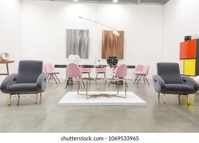 MILAN, ITALY - APRIL 13: Design furniture on display at Miart, international exhibition of modern and contemporary art on APRIL 13, 2018 in Milan.