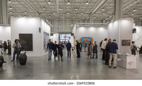 MILAN, ITALY - APRIL 13: People visit Miart, international exhibition of modern and contemporary art on APRIL 13, 2018 in Milan.