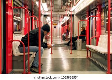 MILAN, ITALY - APRIL 13: People in train of subway on April 13,2 018 in Milan
