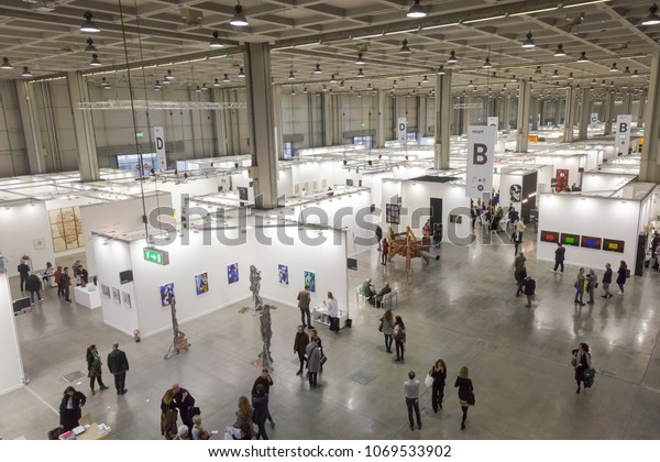 MILAN, ITALY - APRIL 13: Top view of people and booths at Miart, international exhibition of modern and contemporary art on APRIL 13, 2018 in Milan.