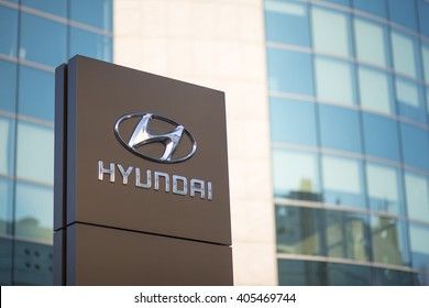 MILAN, ITALY - APRIL 14, 2016: Logotype of Hyundai corporation in front of the Headquarter Building in Milan