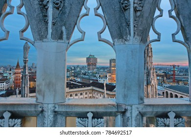 Milan, Italy - April 14, 2016: Milan skyline view from the rooftop of the Duomo di Milano