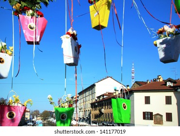 MILAN, ITALY - APRIL 14: Flowers installations on the Navigli bridges during the annual Flowers Market in the fashion and culture Navigli area April 14, 2013 in Milan, Italy.