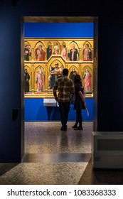 MILAN, ITALY - APRIL 14: Icon and visitors in gallery Pinacoteca di Brera on April 14,2 018 in Milan