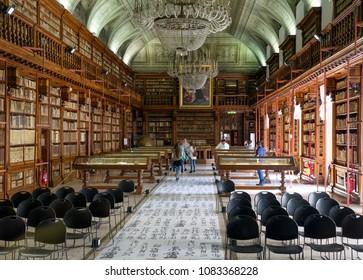MILAN, ITALY - APRIL 14:  Library in courtyard in gallery Pinacoteca di Brera on April 14,2 018 in Milan