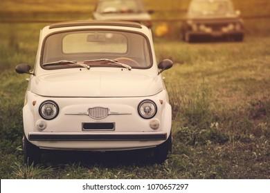 Milan, Italy April 15 2018 Fiat 500. Vintage Italian white car.