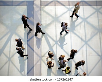 MILAN, ITALY - APRIL 15: Panoramic view of people walking to the entrance of Salone del Mobile, international furnishing accessories exhibition April 15, 2010 in Milan, Italy.