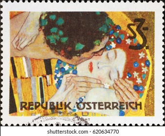 Milan, Italy - April 2, 2017: Detail from the Kiss by Klimt on austrian stamp