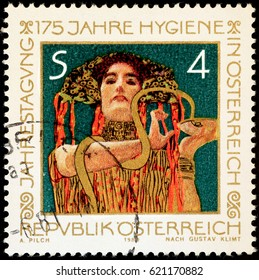 Milan, Italy - April 2, 2017: Painting by Gustav Klimt on austrian stamp