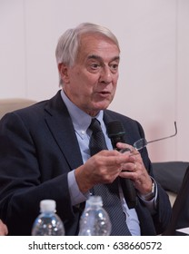 "MILAN, ITALY – APRIL 20, 2017: Giuliano Pisapia, former Mayor of Milan, as special guest shot during a  reserved talk at ""Tempo di Libri"" Book Fair in Milan, Italy on April 20, 2017"