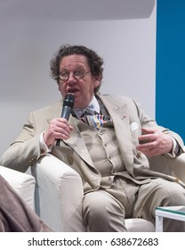 """MILAN, ITALY – APRIL 20, 2017: Philippe Daverio, celebrity, shot during a  meeting about Art, topic of his best-seller books, at """"Tempo di Libri"""" Book Fair in Milan, Italy on April 20, 2017"""
