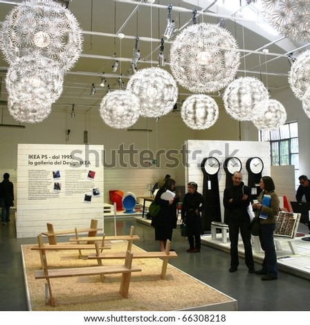 MILAN, ITALY - APRIL 20: People visit  Ikea design solutions show at Zona Tortona area during Fuorisalone, fashion and public design festival show April 20, 2009 in Milan, Italy.