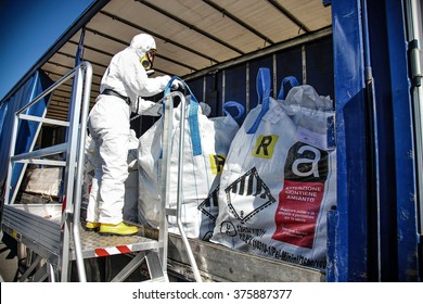 Milan, Italy - April 2014: Asbestos removal worker