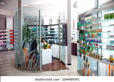 Milan, Italy - April 2015: innovative pharmacy interior