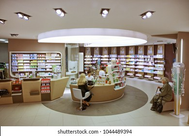 Milan, Italy - April 2015: innovative pharmacy interior