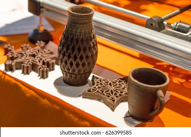 MILAN, ITALY - APRIL 21, 2017: 3d printed objects edible on display at Technology Hub, international event for innovative and futuristic technologies serving business.