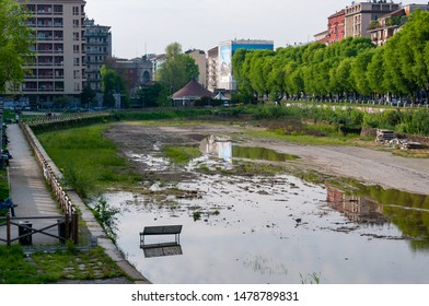 Milan, Italy - April 25 2013:  Overview of the dockyard in Milan before the 2015 renovation work. The renovation was carried out in view of the 2015 Expo.