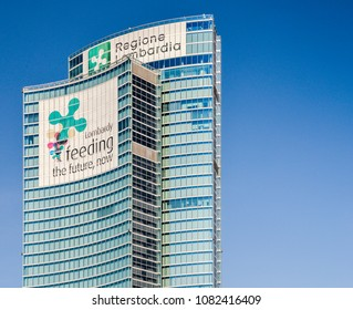 """Milan, Italy - April 25, 2018: View of the regional palace, or """"Palazzo della Regione"""", is the public administrative Headquarters for the Italian Lombardy region"""