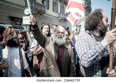 MILAN, ITALY - APRIL 25: celebration of liberation in Milan on 25 April 2013. People took to the streets in Milan to celebrate the anniversary of the liberation of Italy from Nazism and Fascism