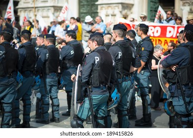 MILAN, ITALY - APRIL 25: celebration of liberation held in Milan on 25 April 2014. People took the streets in Milan to celebrate the anniversary of the liberation of Italy from Nazism and Fascism
