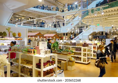 MILAN, ITALY - APRIL 27, 2014: The inside of one of the famous supermarkets Eataly in Milan, Italy.