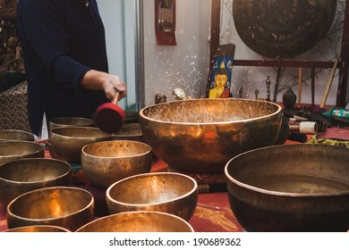 MILAN, ITALY - APRIL 27: Big water bowls on display at Orient Festival, event dedicated to Oriental culture and traditions on APRIL 27, 2014 in Milan.