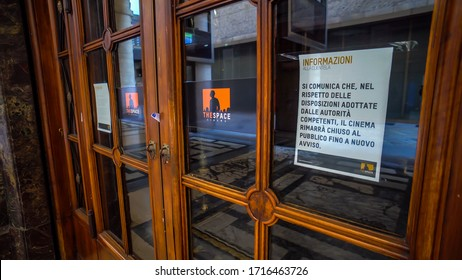 Milan, Italy, April 28, 2020. Empty city streets and galleries on Corso Vittorio Emanuele II without people during quarantine from the coronavirus COVID19. Closed cinema