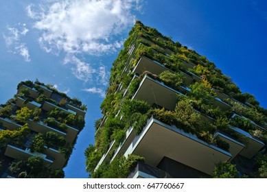 MILAN, ITALY - April 30, 2017: View of the Bosco Verticale in Milan, Italy. It is a pair of residential towers in the Porta Nuova district of Milan that hosts more than 900 trees.