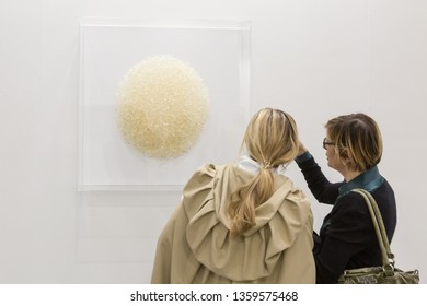 MILAN, ITALY - APRIL 4: People visit Miart, international exhibition of modern and contemporary art on APRIL 4, 2019 in Milan.