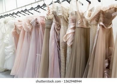 MILAN, ITALY - APRIL 5: Dresses on display at Si Sposaitalia, ultimate exhibition for bridal and formal wear industry on APRIL 5, 2019 in Milan.