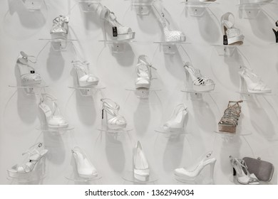 MILAN, ITALY - APRIL 5: Shoes on display at Si Sposaitalia, ultimate exhibition for bridal and formal wear industry on APRIL 5, 2019 in Milan.