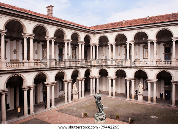 MILAN, ITALY - APRIL 6: Courtyard of the Brera Palace in Milan on April 6, 2012. It was built in 1651 by baroque architect Francesco Maria Ricchino and the Napoleon statue is from Antonio Canova.