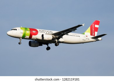 MILAN / ITALY - APRIL 7, 2017: TAP Air Portugal Airbus A320 CS-TNI passenger plane landing at Milan Malpensa Airport