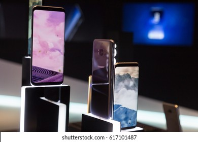 MILAN, ITALY - APRIL 7: The new Samsung S8 on display at Fuorisalone, set of events distributed in different areas of the town during Milan Design Week on APRIL 7, 2017 in Milan.