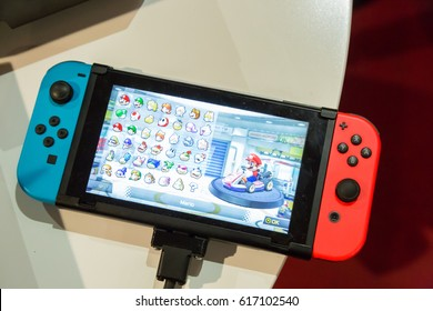 MILAN, ITALY - APRIL 7: The new Nintendo Switch on display at Fuorisalone, set of events distributed in different areas of the town during Milan Design Week on APRIL 7, 2017 in Milan.