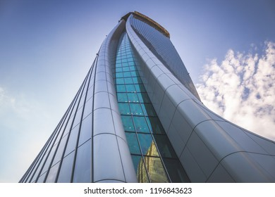 [Milan, Italy - Aug 01 2018] Generali Tower or Hadid Tower, Giulio Cesare Square, Milan, Lombardy, Italy