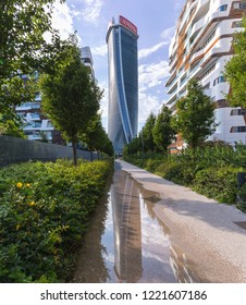 [Milan, Italy - Aug 1 2018] Generali Tower or Hadid Tower, Milan, Lombardy, Italy